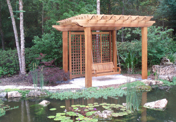 Pergola by Pond by Trellis Structures