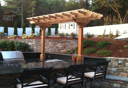 B e s t dezignito guide to get triangular pergola plans for Outdoor kitchen pergola ideas