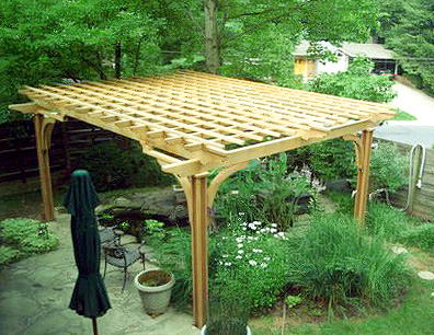 Pergola over pond by trellis structures for Koi pond shade ideas