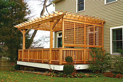 Deck pergola no ap1 by trellis structures for Deck trellis