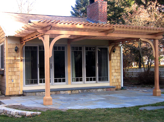 Attached Pergola No. AP5a - Attached Pergola No. AP5 - By Trellis Structures
