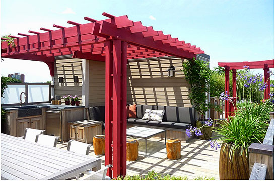 Asian style pergola no asp3 by trellis structures for Japanese pergola plans