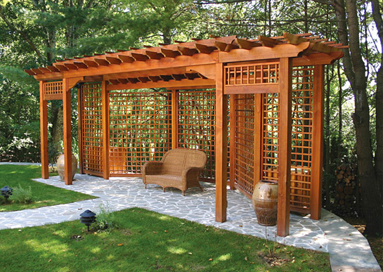 bp11a-post-and-bracket-pergola - Pergola With Privacy Lattice No. BP11 - By Trellis Structures