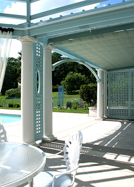 large columned pergola with dome and privacy lattice no