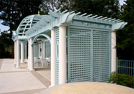 Large Columned Pergola With Dome And Privacy Lattice No Cp10 By Trellis Structures