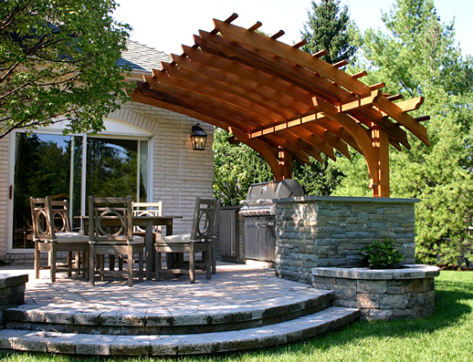 Backyard Pergola Plans : Contemporary Outdoor Kitchen Pergola No KP6  by Trellis Structures