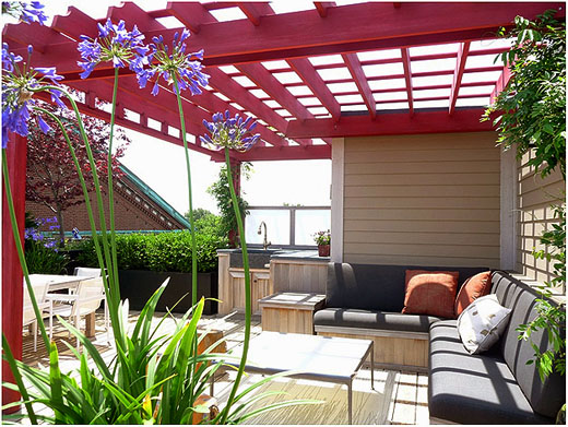 Rooftop Pergola No. RP6b - Contemporary Rooftop Pergola With Outdoor Kitchen No. RP6 - By